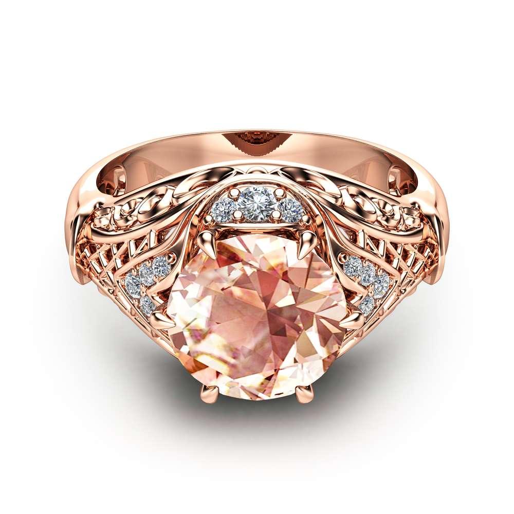 Morganite Engagement Ring 14K Rose Gold Morganite Ring Unique Engagement Ring Rose Gold Halo Ring