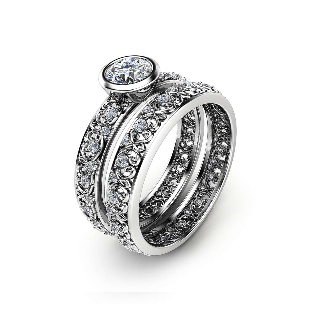 Unique Vintage Engagement Rings Natural Diamond Bezel Bridal Rings 14K White Gold Vintage Rings Engagement Ring Set
