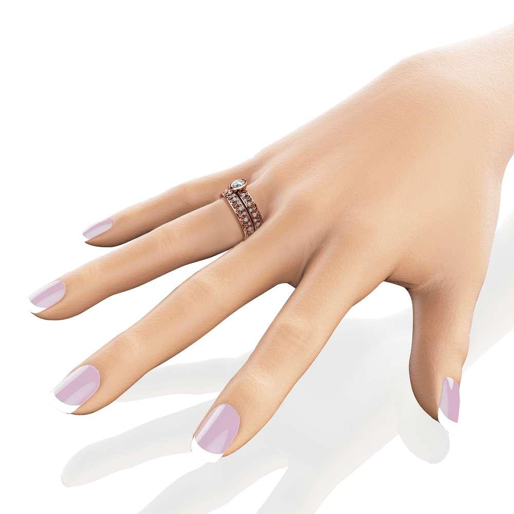 14K Rose Gold Vintage Engagement Rings Natural Diamond Bezel Bridal Rings Engagement Ring Set Unique Vintage Rings