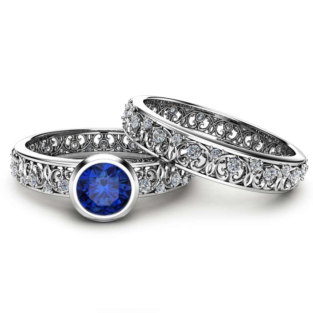 Blue Sapphire Vintage Engagement Rings 14K White Gold Bezel Bridal Rings Engagement Ring Set Unique Vintage Rings