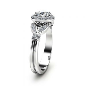 Natural Diamond Engagement Ring 14K White Gold Ring Halo Engagement Ring Unique Diamond Vintage Ring