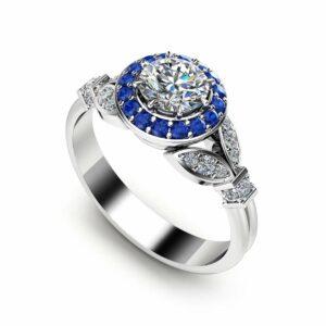 Natural Diamond Engagement Ring 14K White Gold Vintage Ring Halo Engagement Ring Unique Diamond Ring