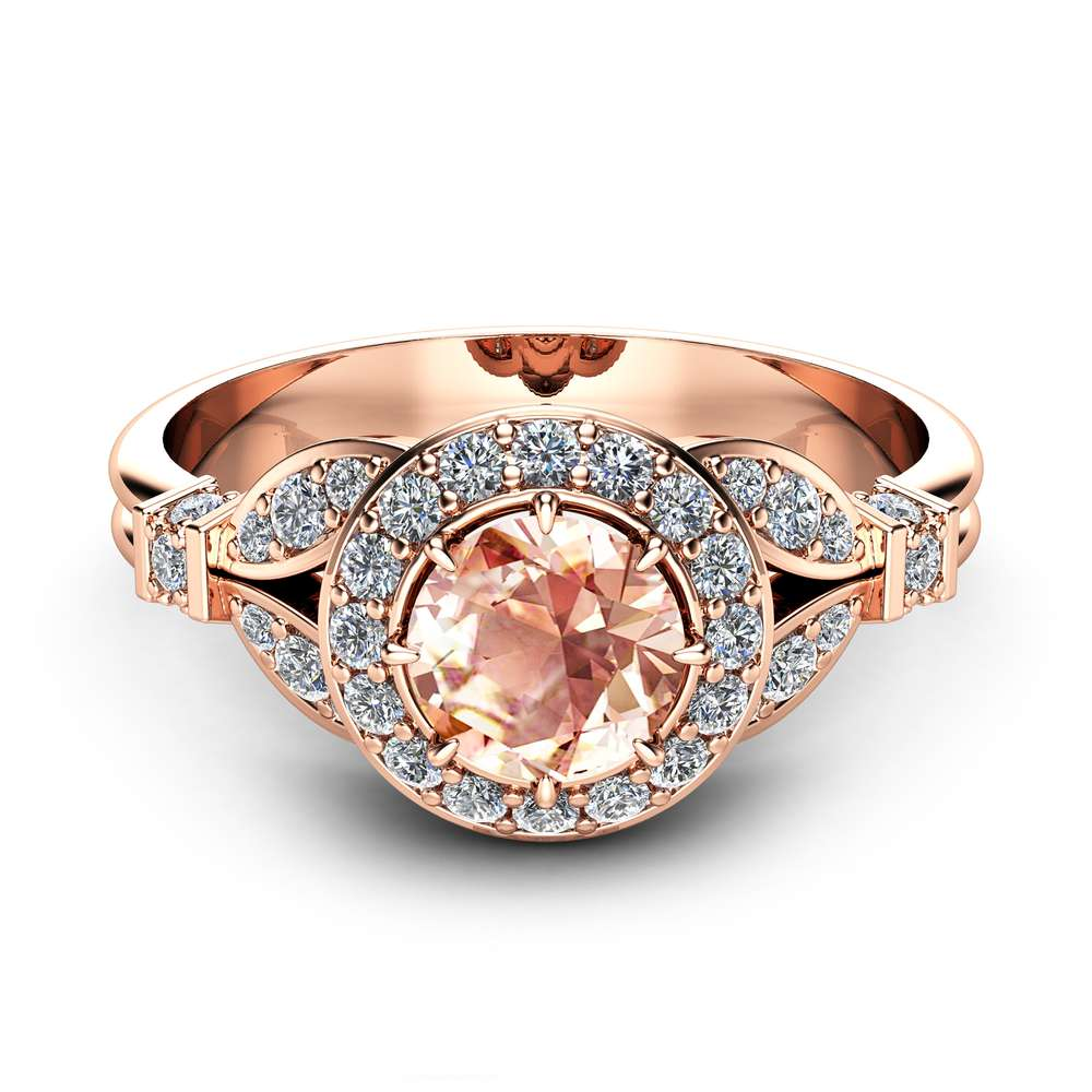 Rose Gold Morganite Engagement Ring Vintage Halo Ring 14K Rose Gold Engagement Ring Unique Morganite Ring