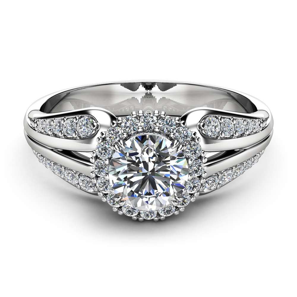 Unique Engagement Ring Natural Diamond Engagement Ring Unique Vintage Ring White Gold Halo Ring
