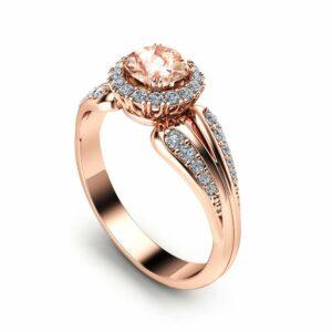 Rose Gold Morganite Engagement Ring Unique Vintage Ring Rose Gold Engagement Ring Halo Morganite Ring