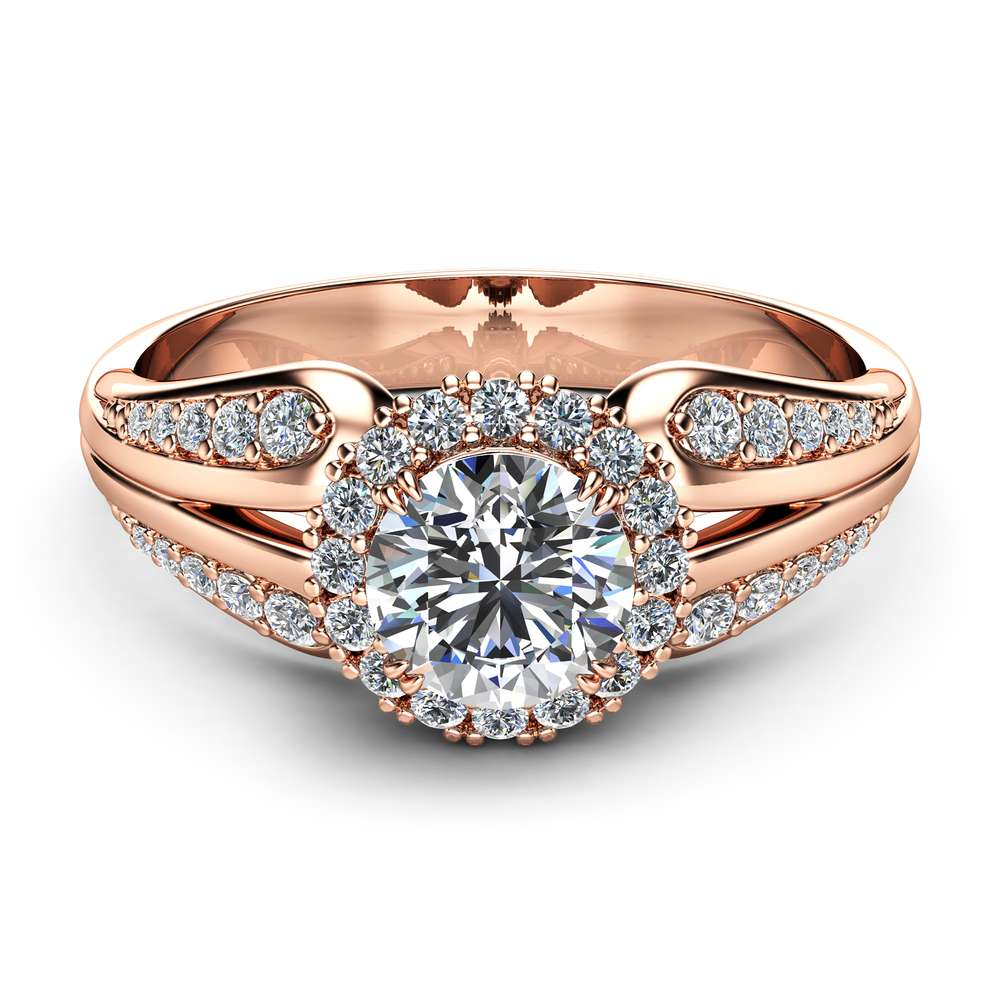 Unique Engagement Ring Natural Diamond Engagement Ring Unique Vintage Ring Rose Gold Halo Ring