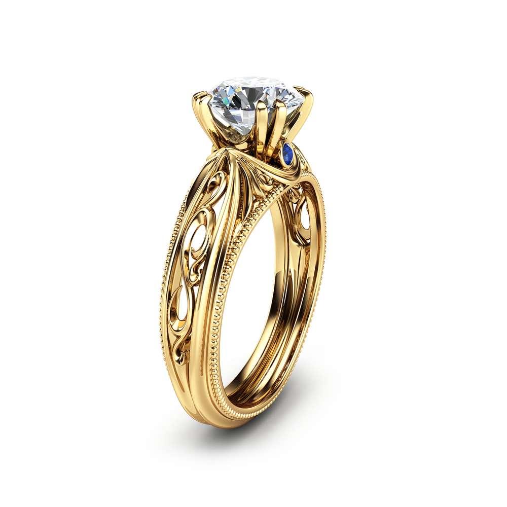 Milgrain Moissanite Engagement Ring 14K Yellow Gold Moissanite Ring Vintage Engagement Ring with Sapphires