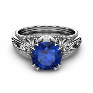 Blue Sapphire Engagement Ring 14K White Gold Sapphire Ring Vintage Engagement Ring Milgrain Ring
