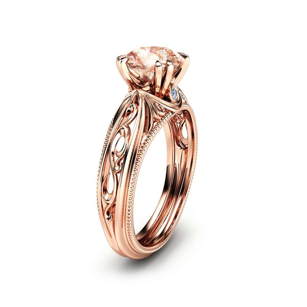 14K Rose Gold Morganite Ring Peach Pink Morganite Engagement Ring Vintage Rose Gold Ring Milgrain Ring