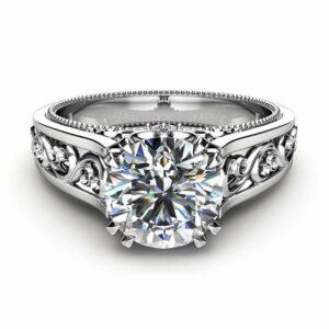 White Gold Moissanite Engagement Ring Milgrain Moissanite Ring Vintage Engagement Ring