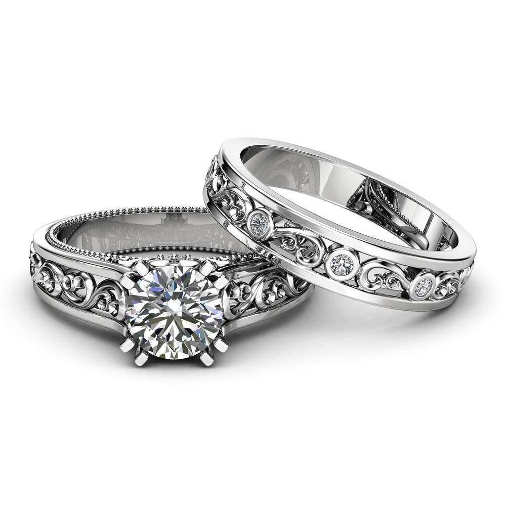 Unique Moissanite Bridal Ring Set 14K White Gold Ring Set Forever One Moissanite Unique Filigree Bridal Ring Set