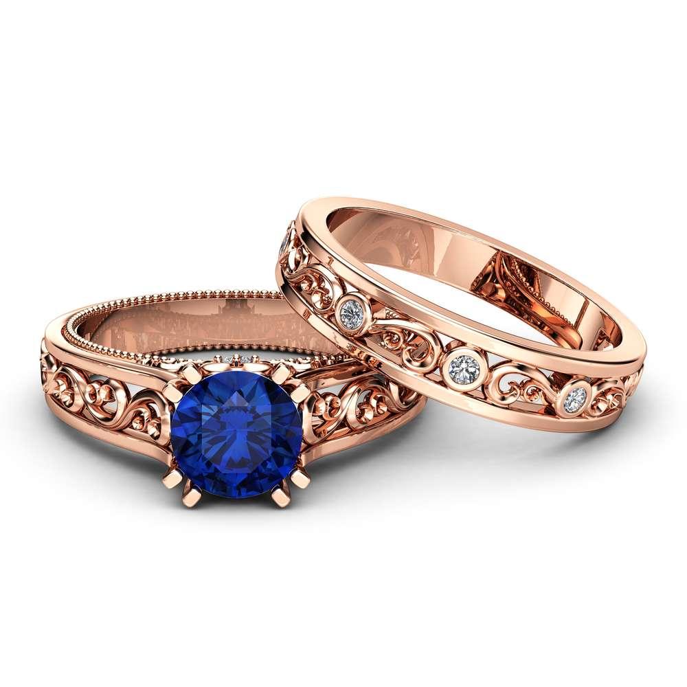 Natural Sapphire Bridal Ring Set Unique 14K Rose Gold Ring Set Art Deco 1.5 Carat Sapphire Bridal Ring Set