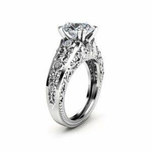 Unique Moissanite Engagement Ring 14K White Ring Vintage Engagement Ring