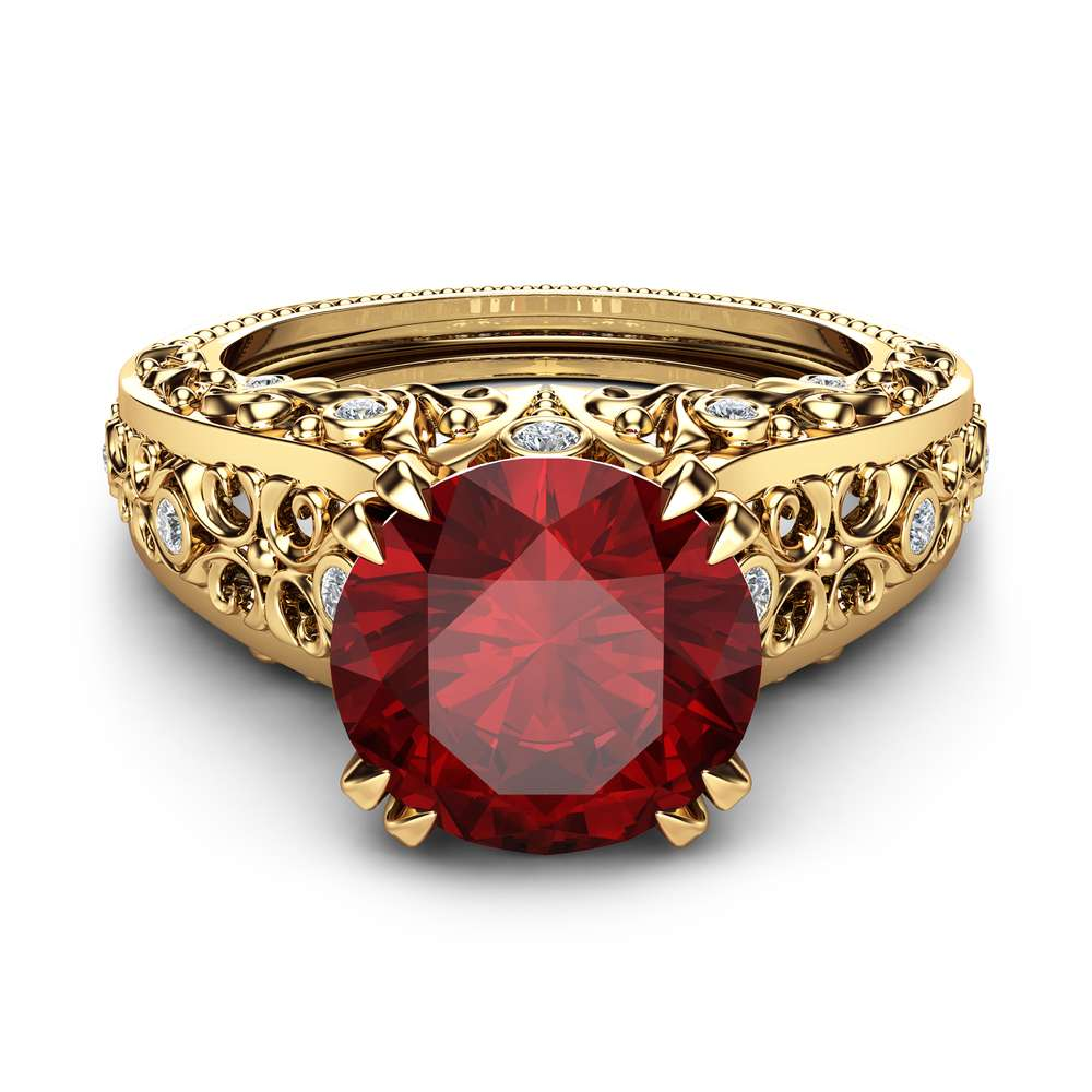 Unique Ruby Engagement Ring 14K Yellow Gold Gemstone Ring Filigree Engagement Ring