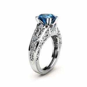 2 Carat Topaz Engagement Ring 14K White Gold Custom Ring Filigree Engagement Ring Unique Topaz Ring