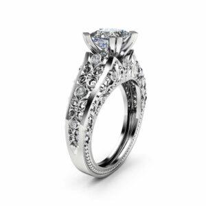 Princess Cut Moissanite Engagement Ring Unique 14K White Gold Ring Unique Filigree Design Art Deco Ring