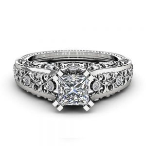 Princess Cut Moissanite Engagement Ring Unique 14K White Gold Ring Unique Filigree Design Art Deco Ring