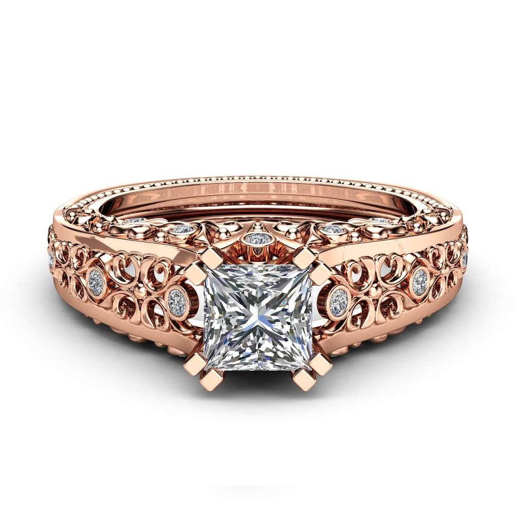 Princess Cut Moissanite Engagement Ring Unique 14K Rose Gold Ring Unique Filigree Design Art Deco Ring