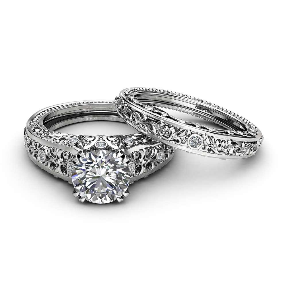 Unique Moissanite Engagement Ring Set 14K White Gold Ring Forever Brilliant Moissanite Bridal Set