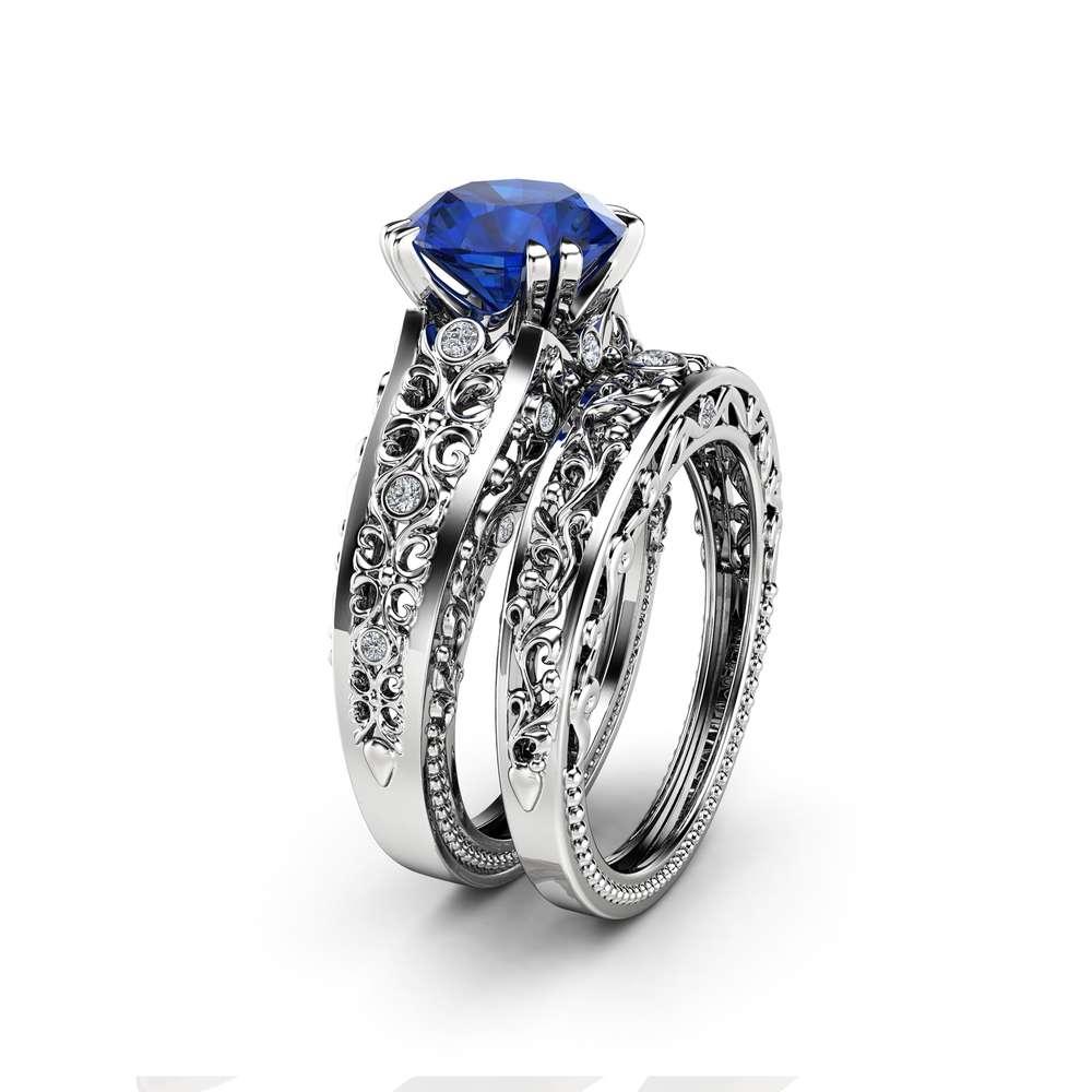 Sapphire Engagement Wedding Ring Set 14K White Gold Rings Natural Diamonds Matching Rings