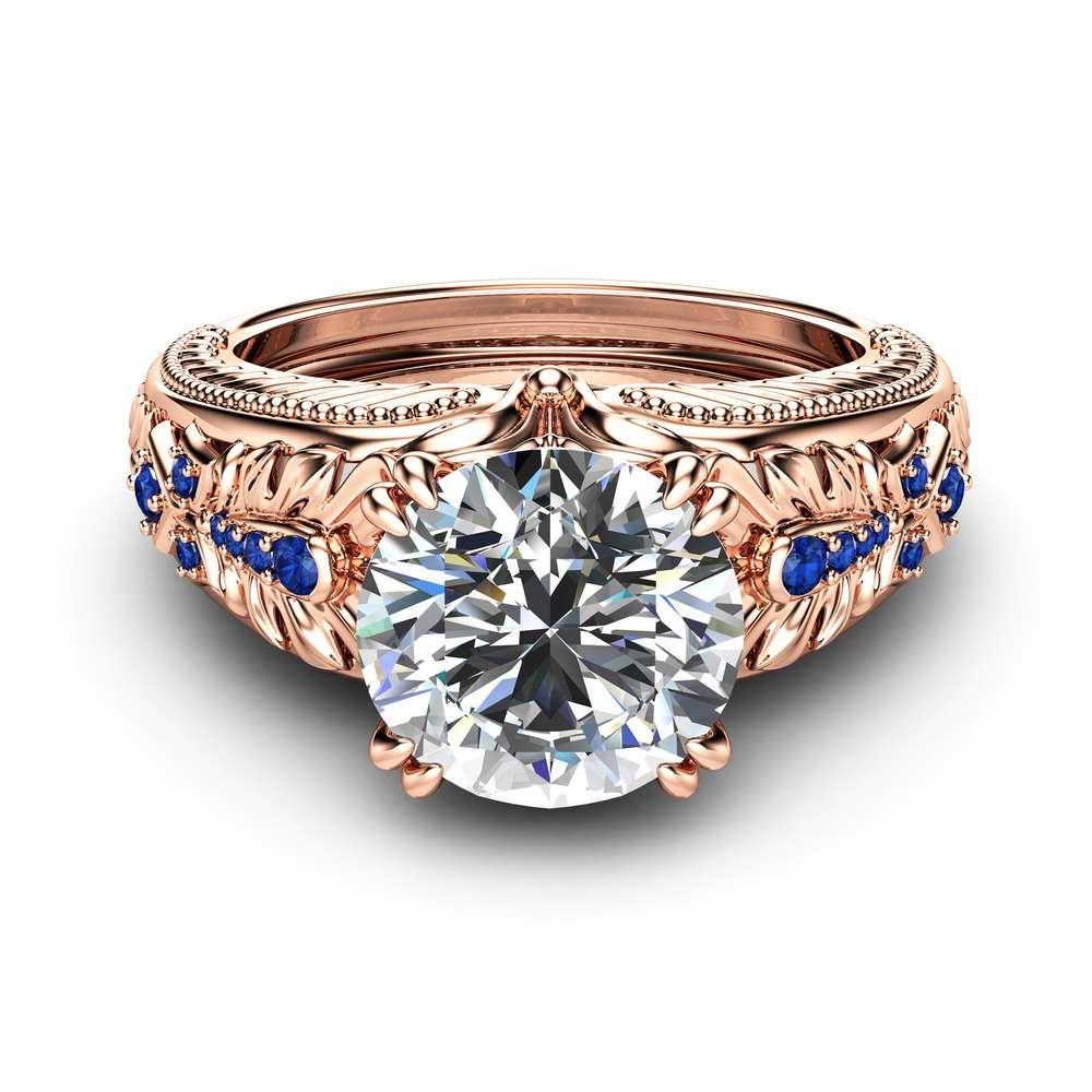 Unique Moissanite Engagement Ring with Sapphires 14K Rose Gold Moissanite Ring Vintage Design Engagement Ring