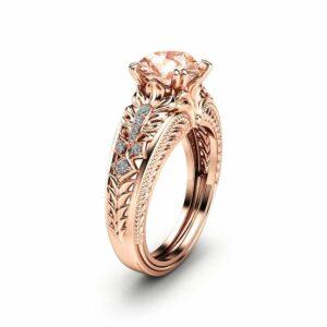 2 Carat Morganite Engagement Ring 14K Rose Gold Morganite Ring Vintage Engagement Ring