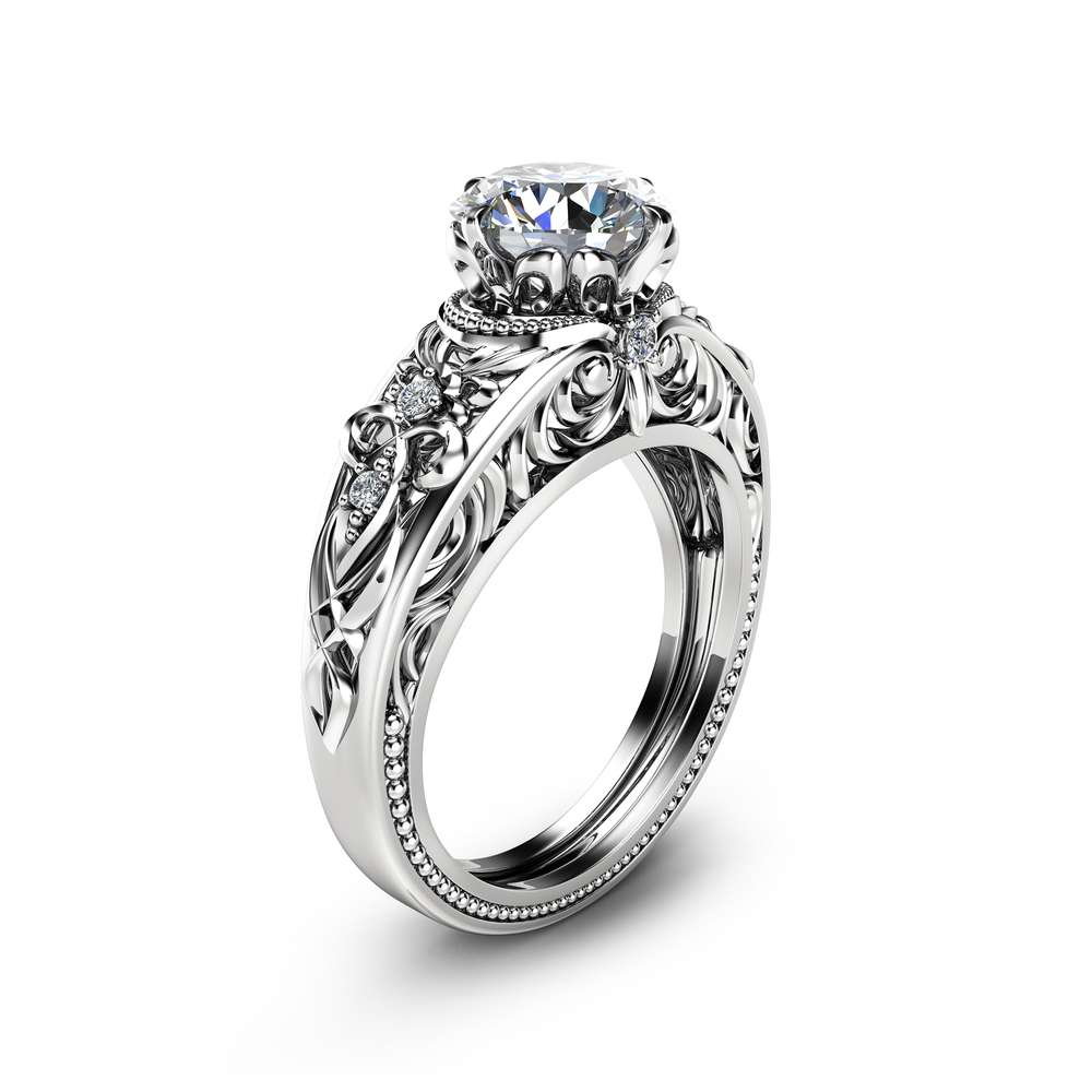 Vintage Engagement Ring  14K White Gold Ring Vintage Engagement Ring