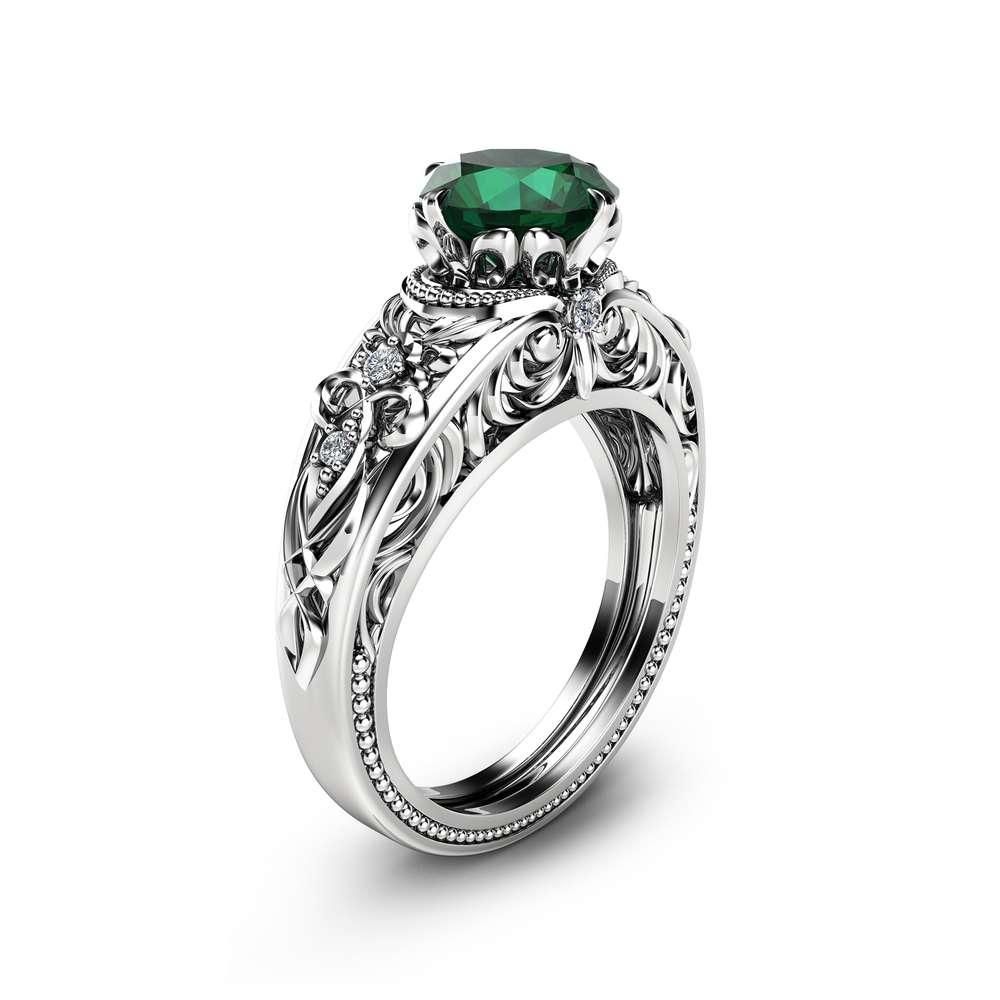 Emerald Vintage Engagement Ring Natural Emerald Custom Ring 14K White Gold Vintage Engagement Ring