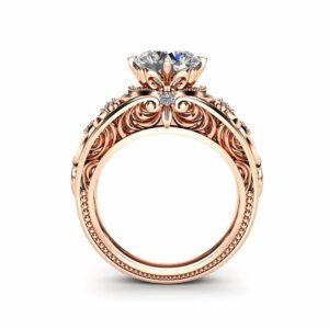 Vintage Engagement Ring  14K Rose Gold Ring Vintage Engagement Ring