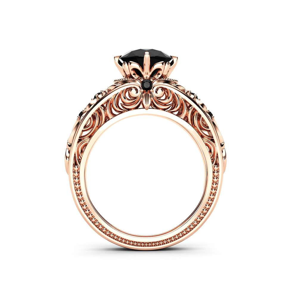 Filigree & Vintage Engagement Ring Black Diamond Vintage Ring 14K Rose Gold Engagement Ring