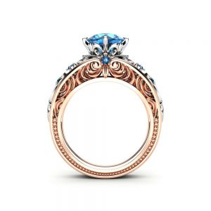 Blue Diamond Engagement Ring Unique Two Tone Gold Ring Vintage Engagement Ring