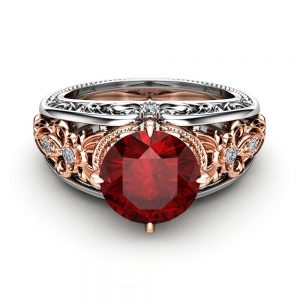 Ruby Engagement Ring 14K Two Tone Gold Ring Unique Vinatge Engagement Ring