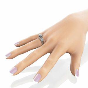White Gold Moissanite Engagement Ring 2 Carat Moissanite Ring Vintage Engagement Ring