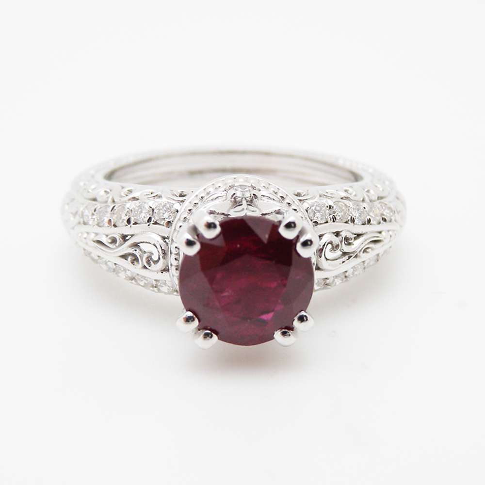 Ruby Unique Engagement Ring 14K White Gold Natural Ruby Ring  Vintage Unique Engagement Ring
