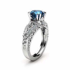 London Blue Topaz Engagement Ring 14K White Gold 2 Carat Topaz Ring Vintage Engagement Ring