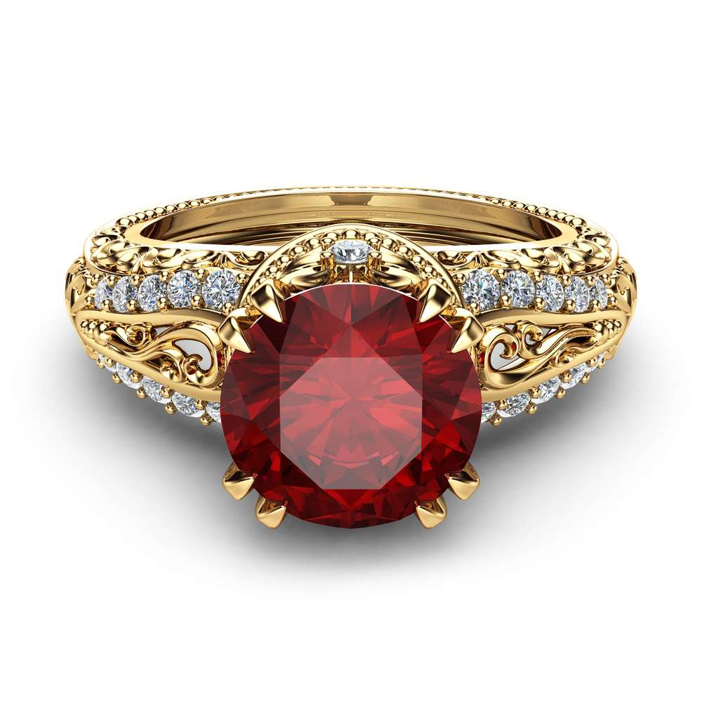 Ruby Unique Engagement Ring 14K Yellow Gold Natural Ruby Ring  Vintage Unique Engagement Ring