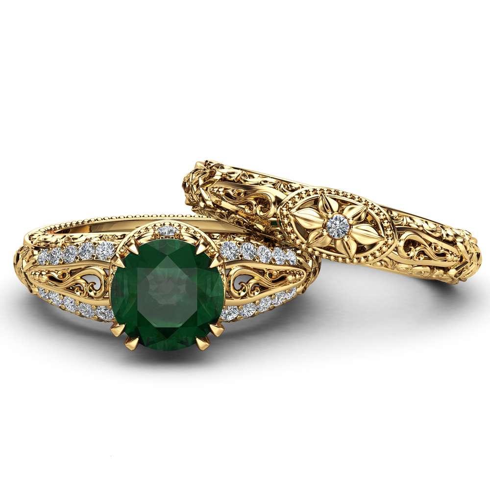 Art deco Emerald Engagement Ring Set 14K Yellow Gold Rings 2 Carat Emerald Bridal Set Filigree Engagement Rings