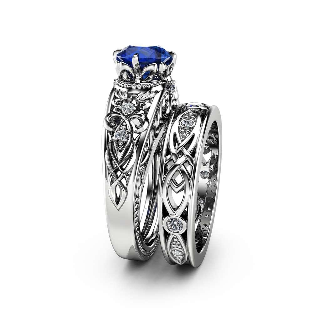 Sapphire Victorian Engagement Ring Set 14K White Gold Victorian Ring Sapphire Engagement Matching Rings