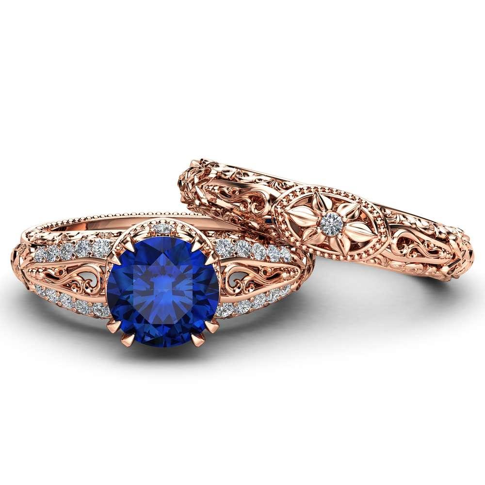 Natural Sapphire Engagement Rings Unique 14K Rose Gold Ring Set Art Deco 2 Carat Sapphire Bridal Set
