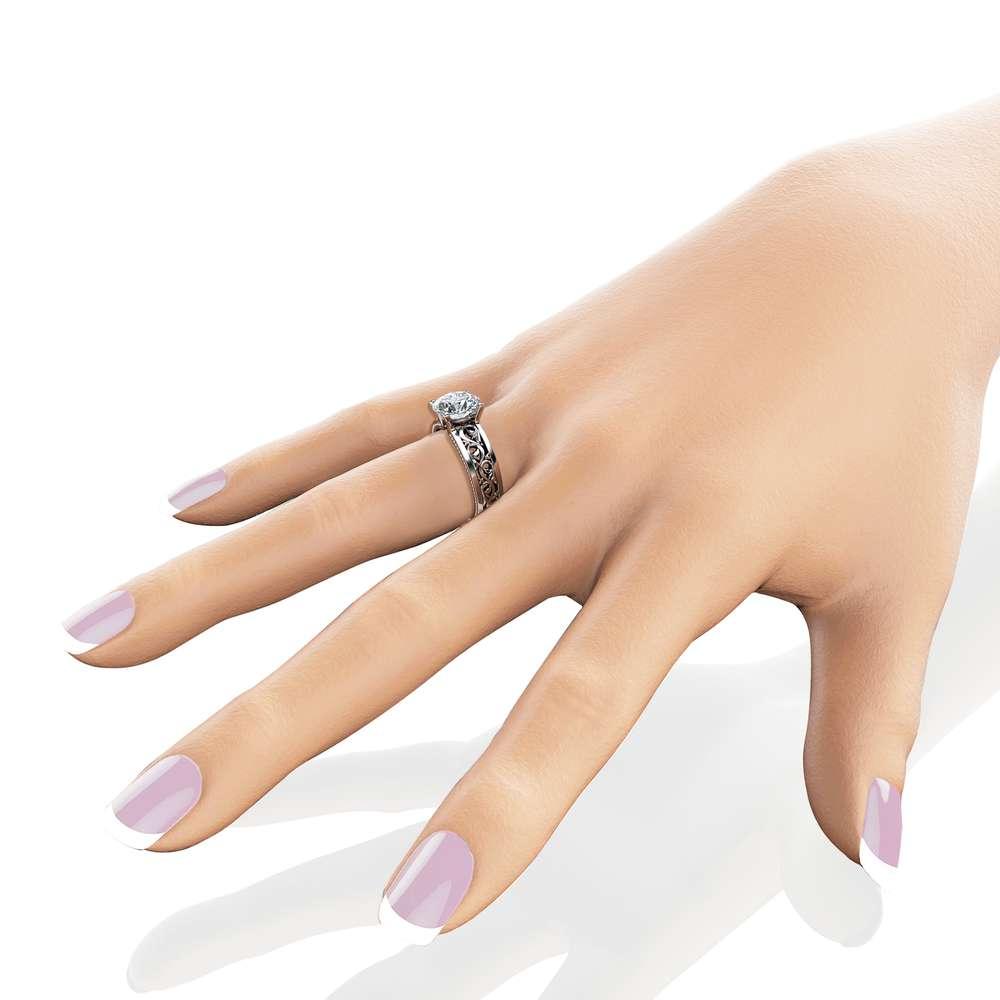 1.55ct Moissanite Engagement Ring Unique Filigree Engagement Ring 14K White Gold Moissanite Ring