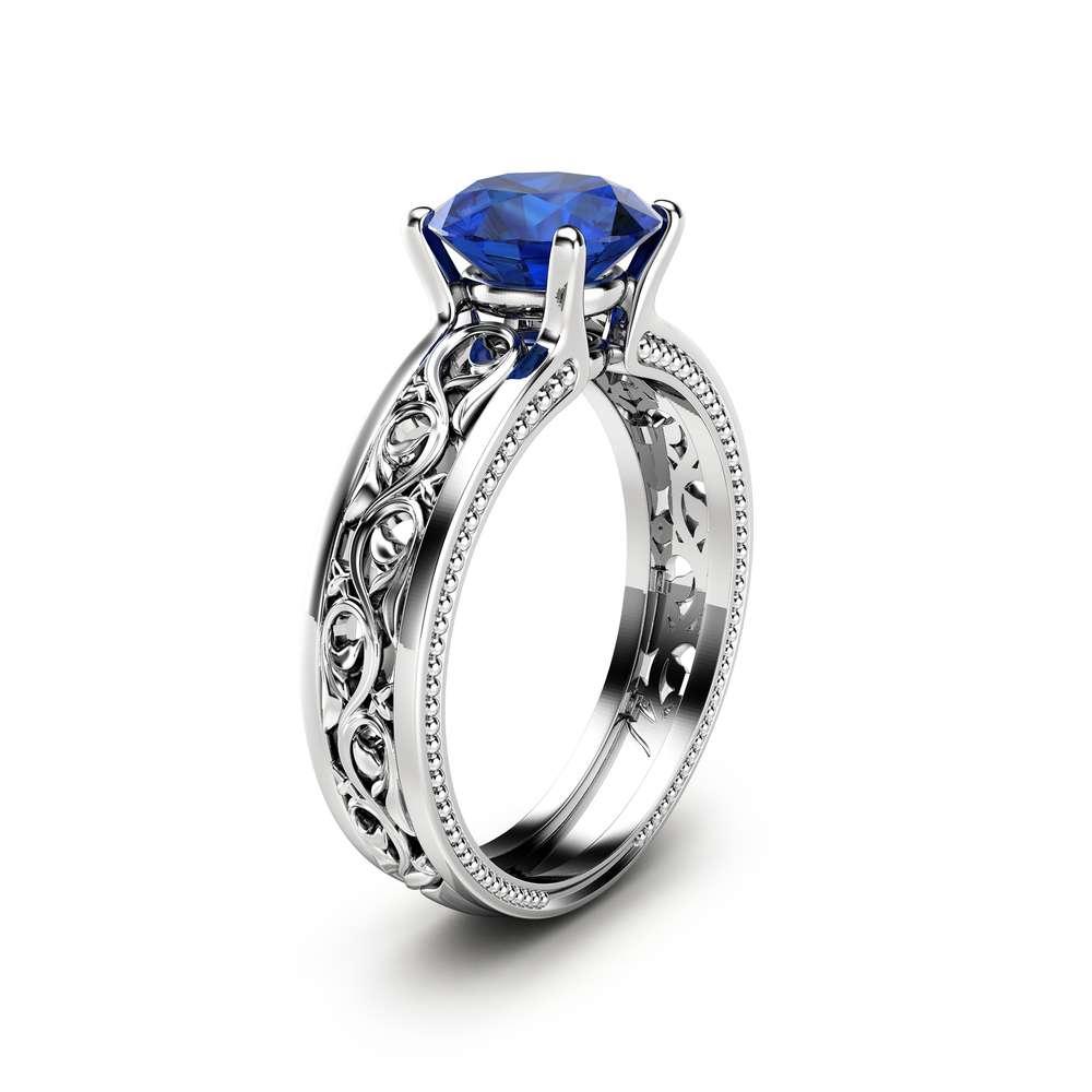 1.5ct Blue Sapphire Engagement Ring Unique Filigree Engagement Ring 14K White Gold Natural Sapphire Ring