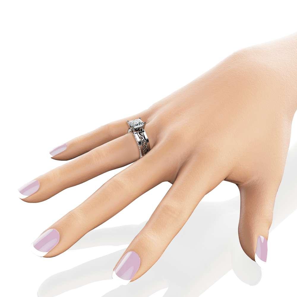 Unique Princess Moissanite Ring 14K White Gold Engagement Ring 7mm Moissanite Engagement Ring