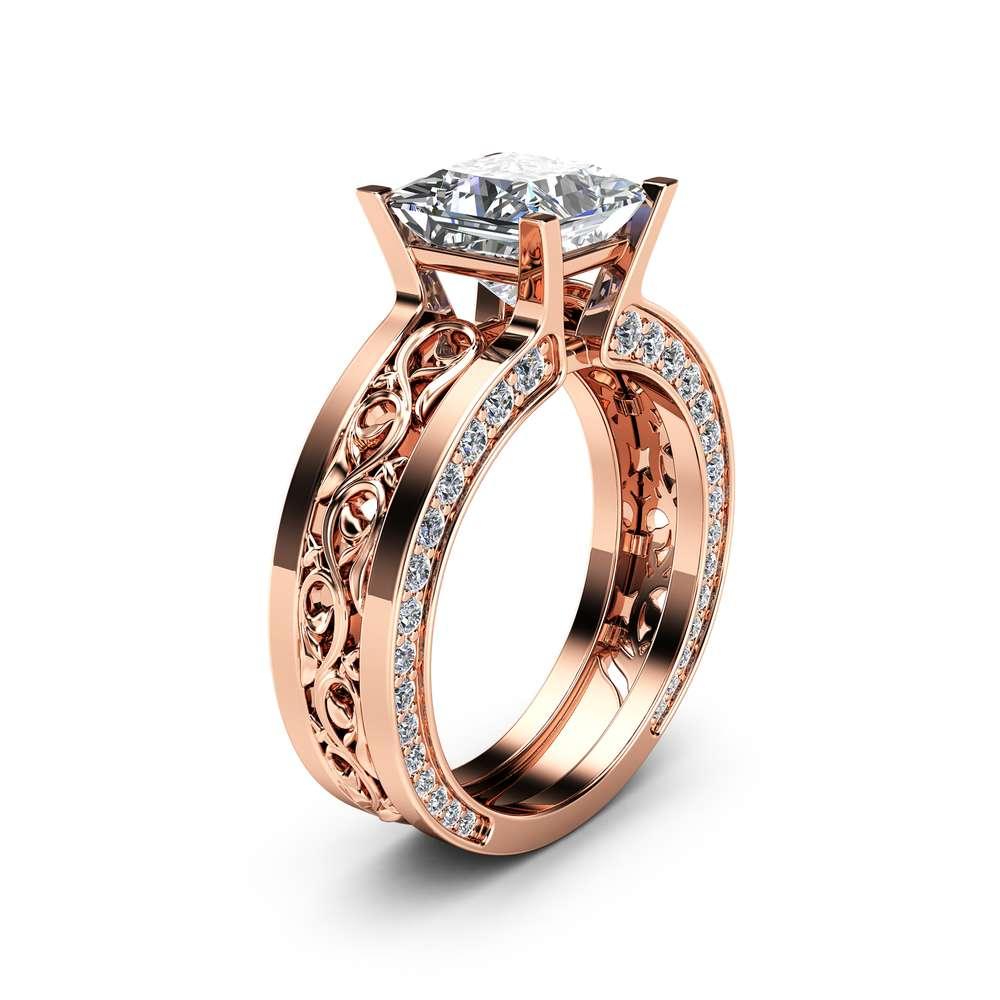 Unique Princess Moissanite Ring 14K Rose Gold Engagement Ring 7mm Moissanite Engagement Ring