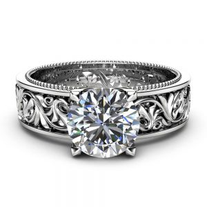 Solitaire Moissanite Engagement Ring Solid 14K White Gold Engagement Ring Filigree 1ct Moissanite Ring