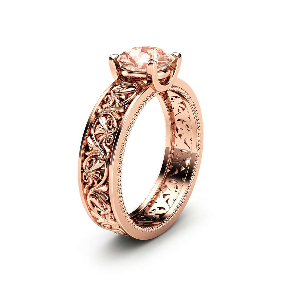 Solitaire Morganite Engagement Ring Solid 14K Rose Gold Morganite Ring Filigree Engagement Ring