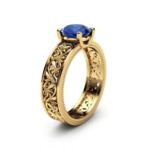 Solitaire Natural Sapphire Engagement Ring 14K Yellow Gold Sapphire Ring Filigree Engagement Ring