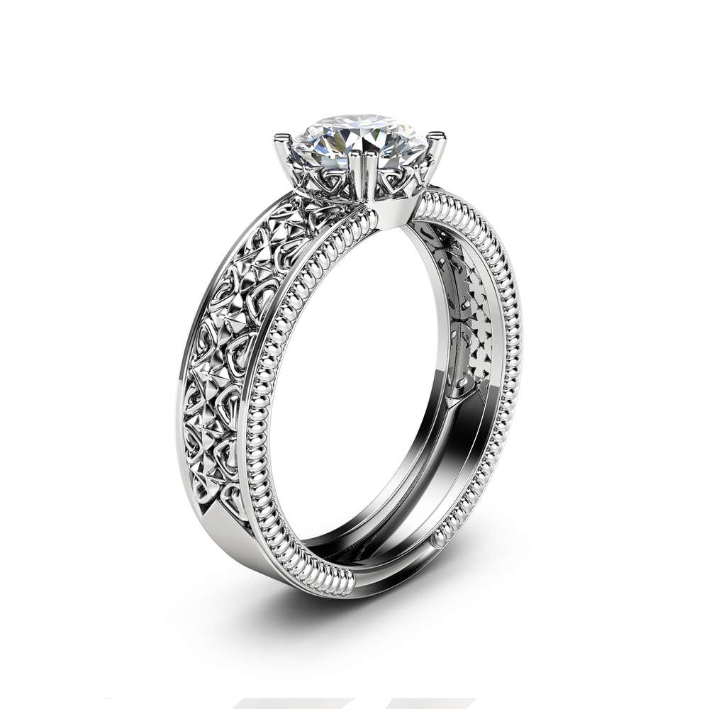 Solitaire Moissanite Engagement Ring Solid 14K White Gold Engagement Ring Milgrain Moissanite Ring