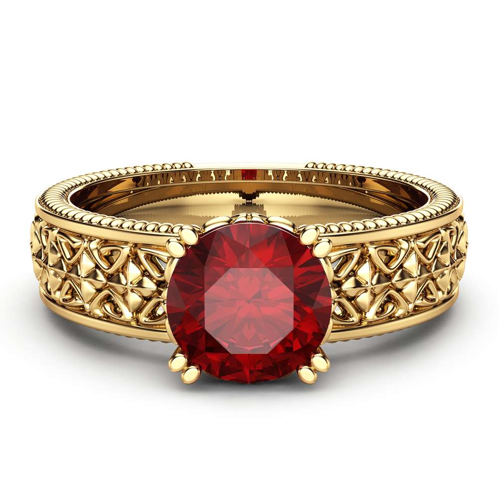 Solitaire Natural Ruby Engagement Ring Solid 14K Yellow Gold Engagement Ring Solitaire 1ct Ruby Ring