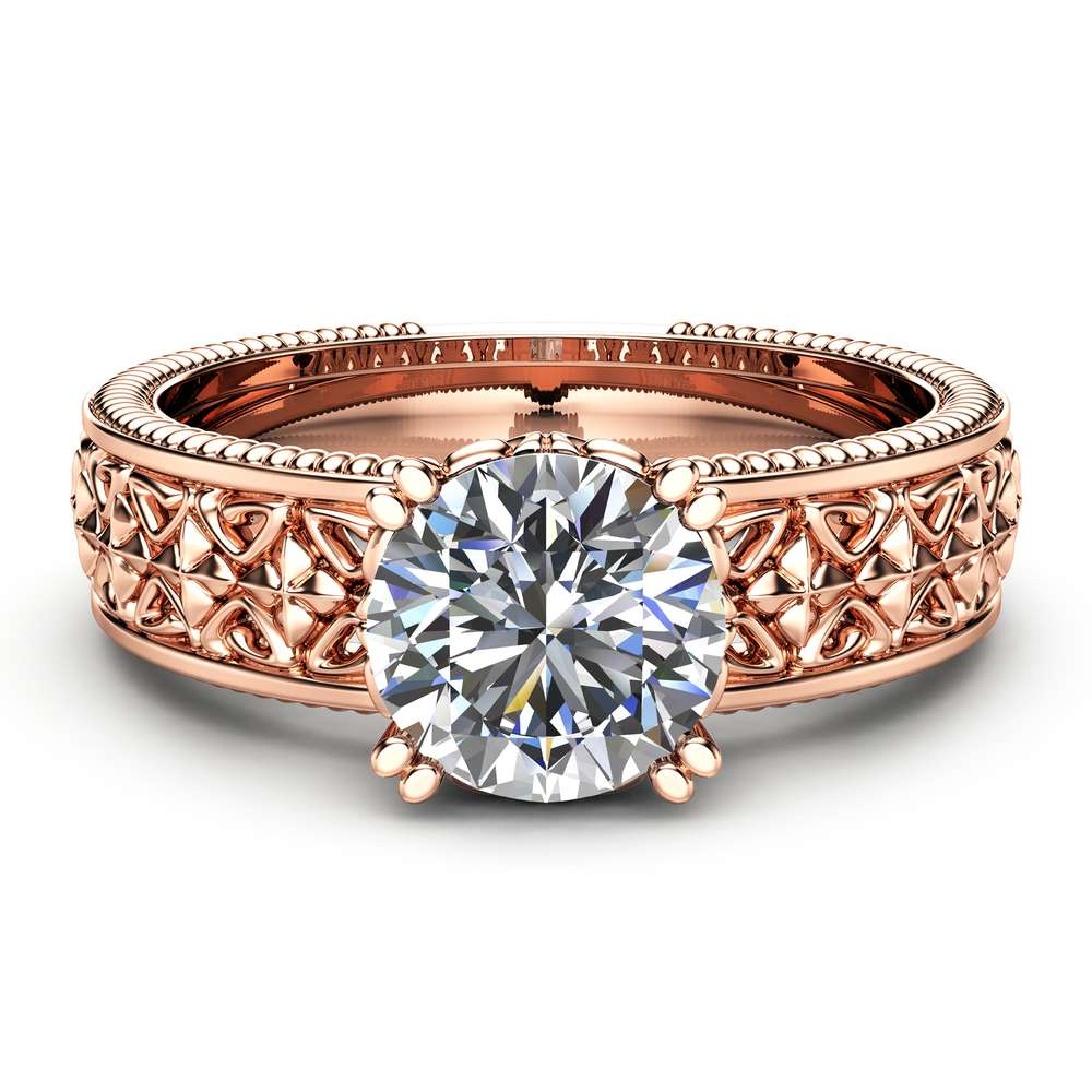 Solitaire Moissanite Engagement Ring Solid 14K Rose Gold Engagement Ring Milgrain Moissanite Ring