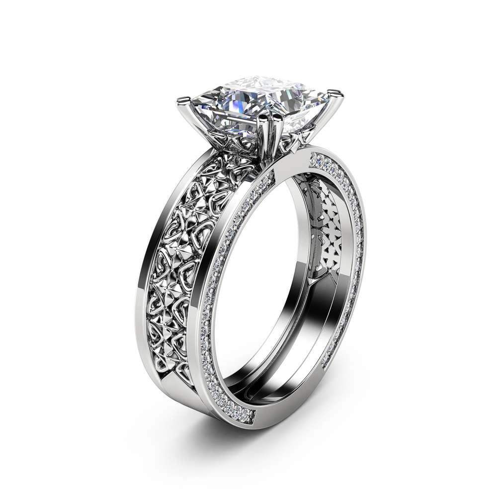 7mm Princess Moissanite Engagement Ring Forever Brilliant Moissanite Ring 14K White Gold Engagement Ring